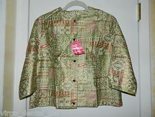 VTG NWTs JOHN WOLF COTTONS Green Red Gold Tone Button Down Top Size 38