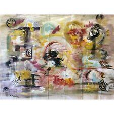 Grande huile sur toile abstrait A Mangara suiveur de Kandinsky
