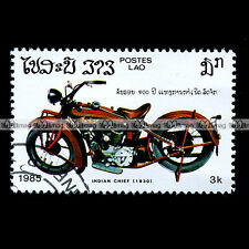 ★ INDIAN 101 SCOUT CHIEF 600 de 1930 ★ LAO LAOS Timbre Moto Motorcycle Stamp #51