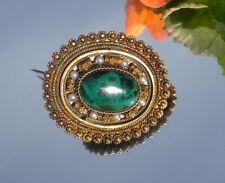 Vintage Sterling Silver Eilat Stone Seed Pearl Brooch  Pendant ~ 925 ISREAL
