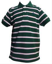 Ragazzi Designer Polo Manica Corta T-shirt Verde Striscia Rosa 18-24 Mesi 2 Anni