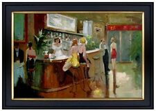 Framed, Quality Hand Painted Oil Painting, The Bar Lounge Restaurant,  24x36in