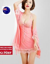 Women Sexy Satin Sleek Imitation Silk Robe Coat Nighties Gown+Babydoll dress Set