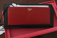 """Diane von Furstenberg """"Voyage"""" Leather Zip-Around Wallet Red/Black - NIB - $175"""