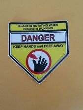 reproduction lawn boy snapper toro danger keep hands and feet away deck decal