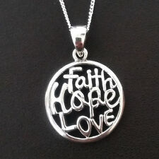 925 Sterling Silver Necklace with inspirational pendant faith hope love gift uk