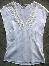 MONSOON WHITE LINEN & COTTON SLEEVELESS TOP WITH SILK TRIM UK 8 WORN ONCE