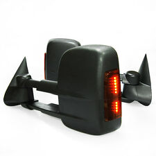 US For 03-07 GMC Sierra Chevy Silverado LED Signal Heated Power Tow Mirrors BLK