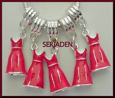 5 Red Dress Charm Dangle Fits European Style Jewelry 9 mm x 37 mm 5 mm Hole S170