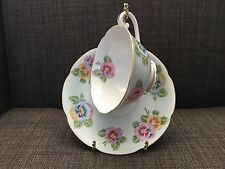 Diamond Tea Cup And Saucer Made In Occupied Japan Blue With Flowers