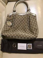AUTHENTIC Gucci Gg Fabric Sukey Gold Leather Charm Medium Tote Bag