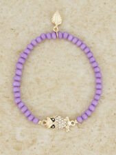 Purple Beaded Stretch Bracelet With Gold Toned Clear Rhinestone Owl
