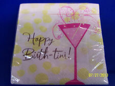 Be Girly Chocolate Cake Pink Martini Cocktail Birthday Party Beverage Napkins