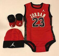 NIB Nike Air Jordan Baby Boy Booties Infant 3 Piece Set 6-12 mo Red Bodysuit