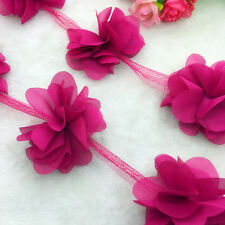 New Hot 1 Yard Deep Rose Flower Chiffon Wedding Dress Bridal Fabric Lace Trim