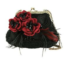 Mary Frances Date Night Mini 3D Flower Feather Beaded Black Red Shoulder Bag New