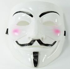 White V for Vendetta Guy Fawkes Anonymous Costume Halloween Cosplay Protest Mask