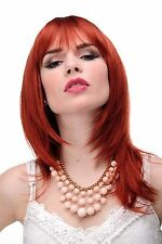 Smooth women's wig Red dark copper red Shoulder length & Fringe approx.