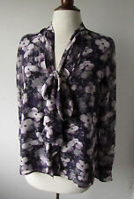 Womens JONES NEW YORK Collection Petite Purple Floral Sheer Blouse Top  8P (J35)