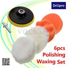 6x 4''High Gross Buffer Pad Polisher Set + M10 Drill Adapter Car Polishing Wax