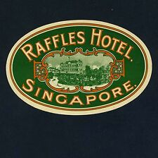 Raffles Hotel SINGAPORE Singapur * Old Luggage Label Kofferaufkleber