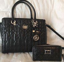 Mothers Day NWT Guess Black MALENA Purse Handbag Shoulder Bag Wallet SET