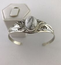 Native American Sterling Silver Handmade White Buffalo stone cuff bracelet