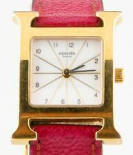 Hermès Heure H Women's Gold-Plated Quartz Watch w/ Original Pink Leather Band