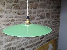 Vintage French Green Enamel Coolie Style Light Shade with Bulb Holder and Flex