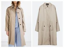 ZARA STONE LONG OVERSIZED TRENCH COAT SIZE M - REF.0518/042