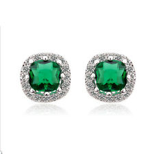 18K WHITE GOLD PLATED GENUINE EMERALD SWAROVSKI CRYSTAL SQUARE STUD EARRINGS