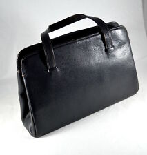 Vintage Moreware black real leather handbag with attached coin purse and mirror