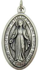 """MRT Miraculous Mary Madonna GIANT Medal Pendant Silver Tone Metal Gift Italy 2"""""""