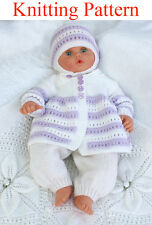 Knitting pattern for doll/baby jacket trousers hat blanket 19-22 inches