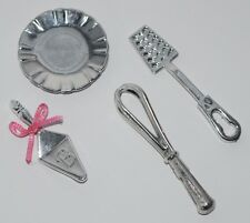 BARBIE KITCHEN ACCESSORIES * CHROME SILVER PLATE, WHISK, SPATULA, PASTRY SERVER