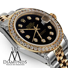 Rolex Ladies 78273 Datejust 2 Tone 31mm Black Color Diamond Dial Watch