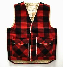 Denim & Supply Ralph Lauren Shearling Lined Red Buffalo Plaid Wool Work Vest S