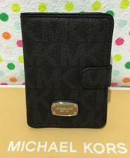 NEW Michael Kors Signature Jet Set PVC Passport Case Holder/ Wallet Black