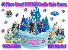 EDIBLE Disney Princess FROZEN Blue CASTLE WAFER Stand Up Birthday Cake Toppers