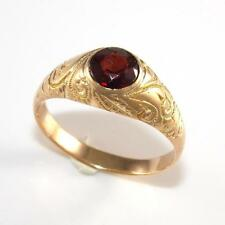 Vintage Estate Solid 14K Yellow Gold Red Garnet Etched Band Ring Size 10.5  A2