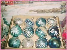 Beautiful Antique Vtg Shiny Brite Stencil Scenes & Snowcaps Glass Xmas Ornaments