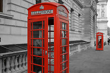 Framed Print - Iconic English Red Telephone Box on the Streets of London (Art)