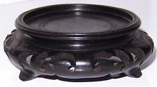 Antique Chinese Hard Wood Stand Carved Display Black Signed INTRICATE 2 1/4 inch