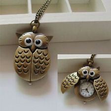 New Unisex Vintage Bronze Slide Smart Owl Pendant Antique Necklace Pocket Watch