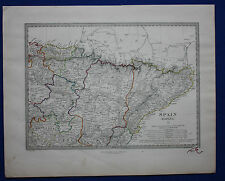 Original antiguo mapa North East España, España, Pamplona, Barcelona, Sduk, 1845