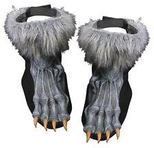 WEREWOLF WOLF FURRY FEET GREY SILVER FANCY DRESS COSTUME HALLOWEEN SHOE COVERS