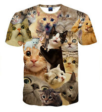 Women Men 3D Printed Many Colourful Cute Cat Funny T-shirt Short Sleeve Tops XL