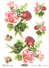 Rice Paper for Decoupage Scrapbooking, Roses and Lily of the Valley A4 ITD R330