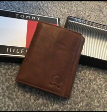 TOMMY HILFIGER Tan Brown Leather Wallet Passcase Gift Box Men's AUTHENTIC NEW