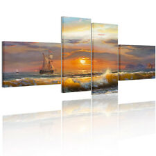 Sunset Sailing Ship Framed Picture Canvas Print Wall Art Painting Ready To Hang